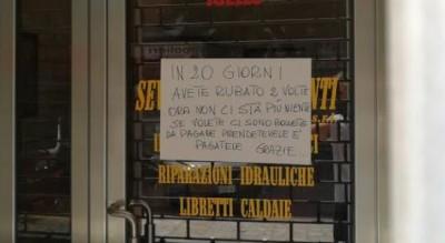 foggia-via-matteotti-cartello-sfogo-commerciante-furto-negozio-Cronaca
